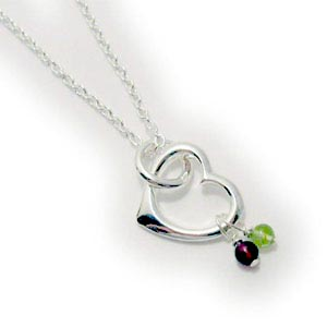 Heart Pendant with Real Birthstone Gemstones