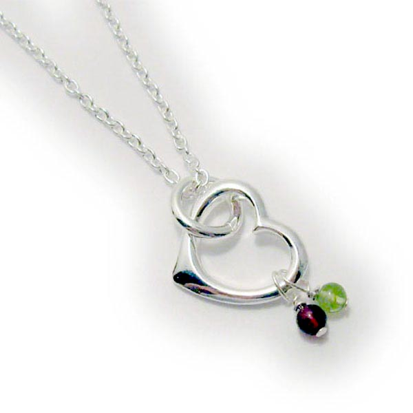 Sterling Silver Heart Pendant Necklace with Real Gemstones or Birtshtone Crsytals