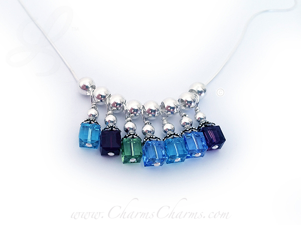 7 Charms for Grandma Birthstone Charm Necklace - Birthstone Crystal Dangle Necklaces