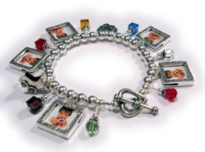Charm Bracelet with Birthstone Crystals and Picture Frame Charms