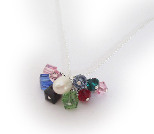 Sterling Silver Heart Necklace with Birthstone Crystal Dangle