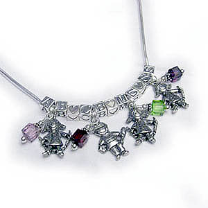 Charm Necklaces with 4 kids initials, 4 birthstone crystals and 4 boy or girl charms