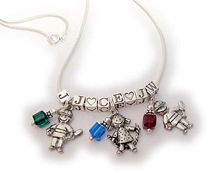 Girl and Boy Charm Birthstone Necklace 3 kids