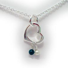 Pearl and Jade Birthstone Necklace with Heart