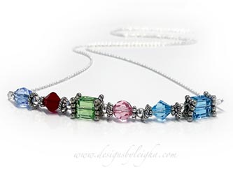 12 birthstone necklace with Swarovski crystals and sterling silver beads - CC-N7