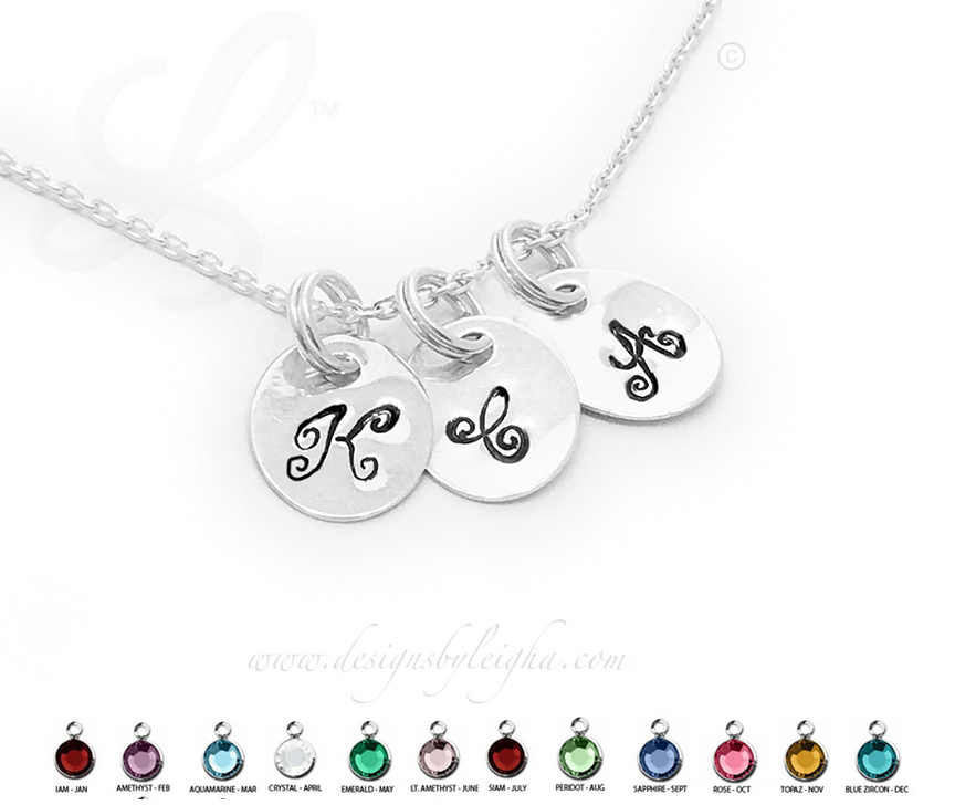 Sterling Silver Oval Disk Monogram or Initial Charm Necklaces
