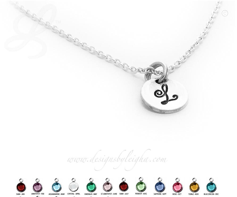 Sterling Silver Round Disk Monogram or Initial Charm Necklaces
