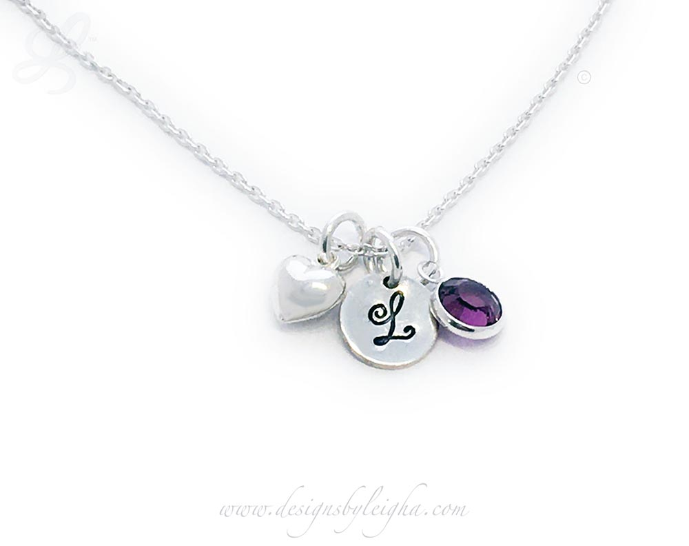 Swarovski Crystal Birthstone Heart Charm Necklace for MOMMY. It is shown with 3 Birthstones - March, September and June (Sterling Silver & Swarovski Crystals)