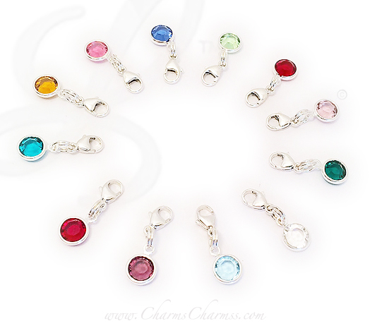 Birthstone drops with Lobster Claw Clasps