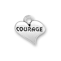 Sterling Silver COURAGE Charm in a Heart