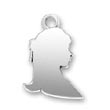 Engravable Charms - Young Girl Profile sterling silver