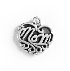 Sterling Silver Filigree MOM Charm
