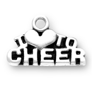 Sterling Silver I HEART CHEER charm