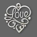 Sterling Silver Filigree LOVE Charm