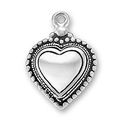 Puffed Beaded Heart Charm  sterling silver