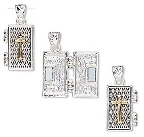 Silver and gold plated rectangular prayer box charms with a magnetic closure