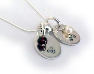 Hand Stamped Necklace with 2 kids Initials & Real Gemstones x 2