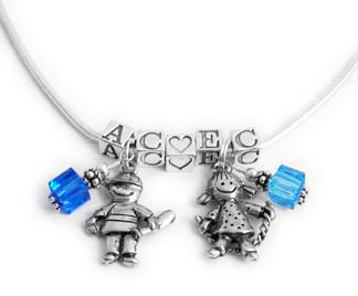 Mothers Necklace with kids initials and kid charms