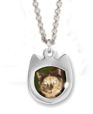 Cat Picture Frame Charm Necklace