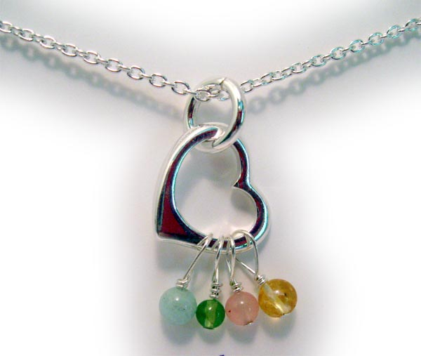 Sterling silver heart with real gemstones necklace 4 - gemstones