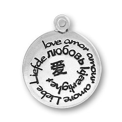 Sterling Silver Love in Many Languages Charm