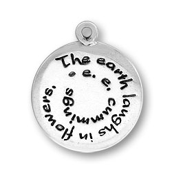 Sterling Silver The Earth Laughs in Flowers by EE Cummings Charm